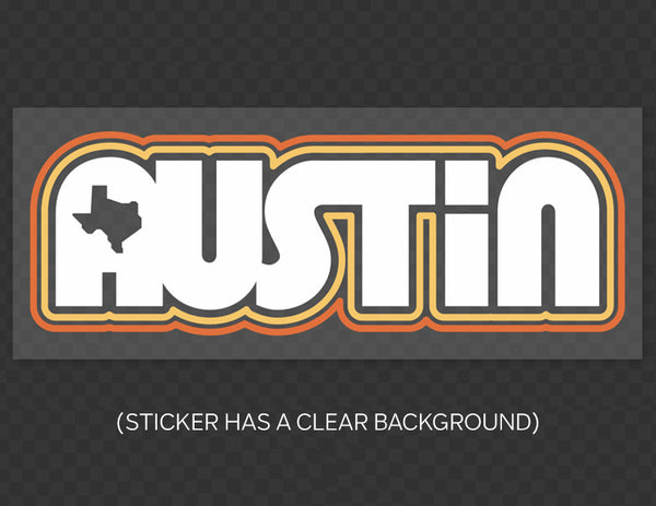 Retro Austin Clear Sticker by Gusto Graphic Tees