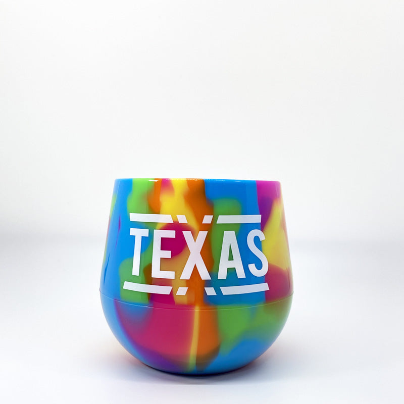 Texas silicone wine glass, stemless silicone wine glass, texas wine glass, texas wine, hippie hops wine glass