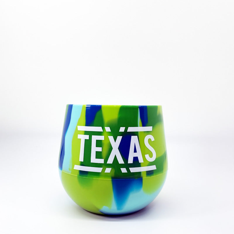 Sea Swirl, Texas silicone wine glass, stemless silicone wine glass, texas wine glass, texas wine, unbreakable wine glass, siliipint wine glass