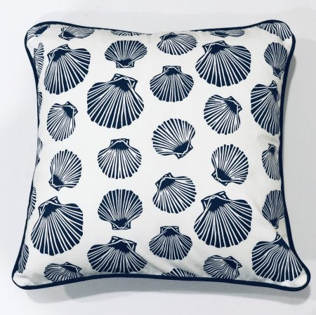Shell White Navy Cushion Cover