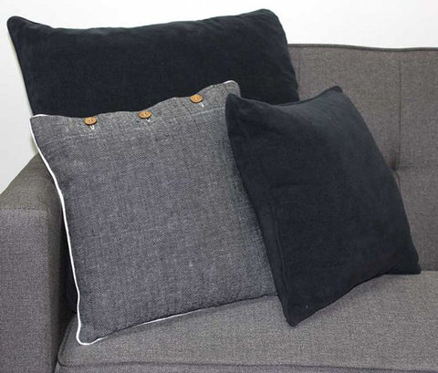 Chenille Charcoal Cushion Cover