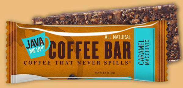 WHOLESALE ONLY. Caramel Macchiato Coffee Bars - 96 bars (8 boxes x 12). Code 521296. SPECIAL PRICING THRU JUNE 10. Standard Delivery Included.