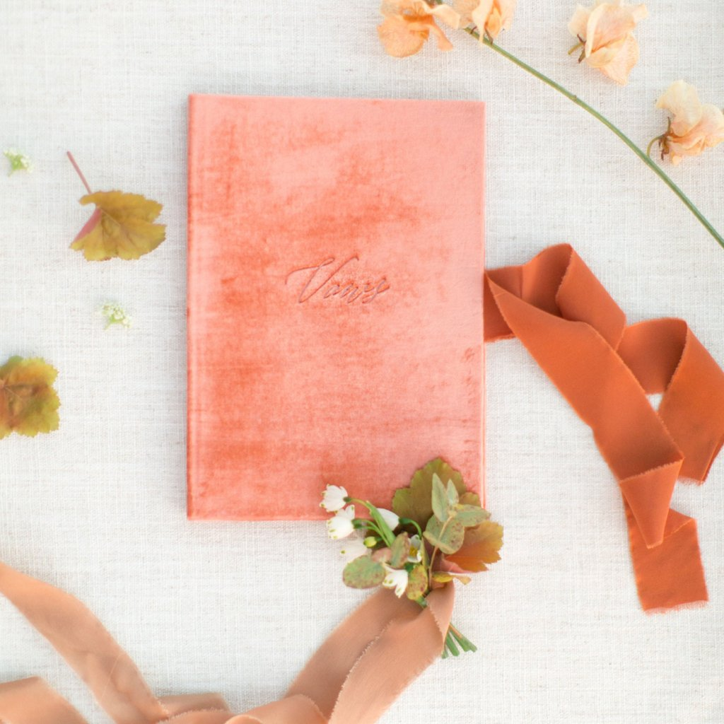 Vow Book Covers Uk Velvet - Peach Wedding Stationery