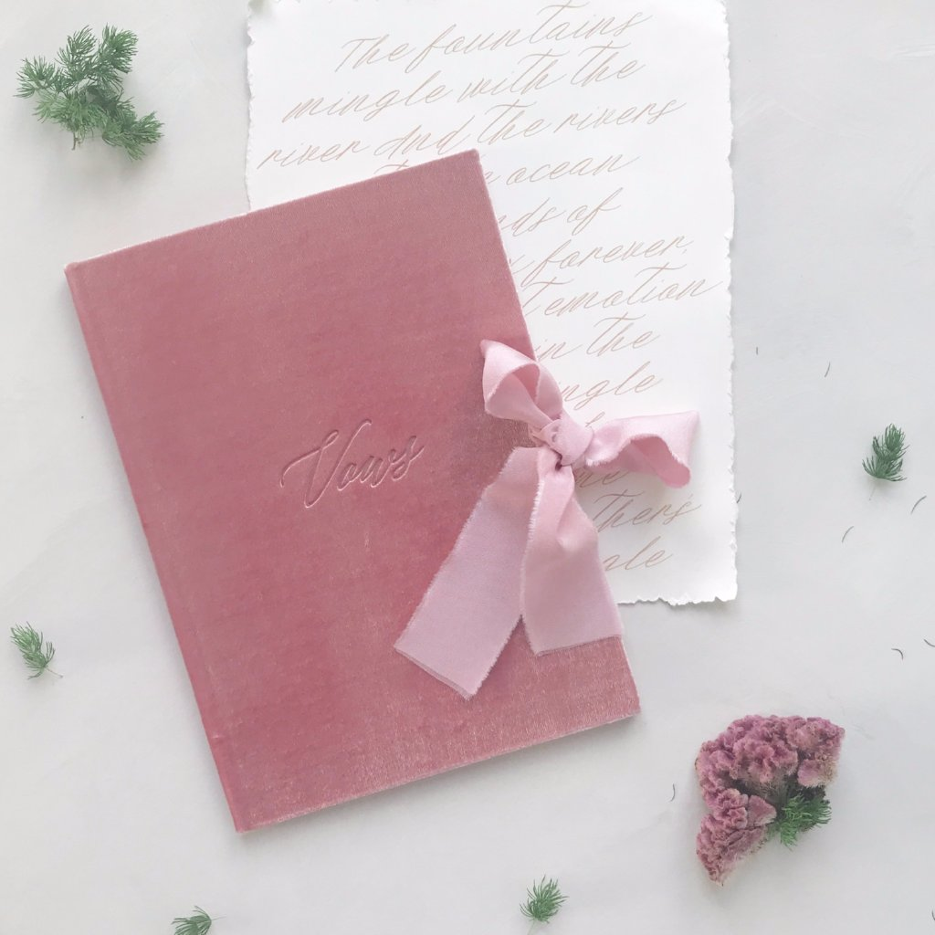 Vow Book Covers Uk Velvet - Pink Wedding Stationery