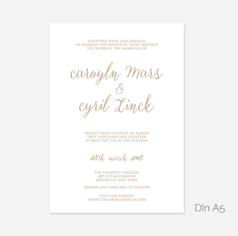 Elegant Foil My Name Wedding Invitation