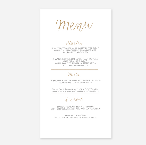 Elegant Foil My Name menu Card