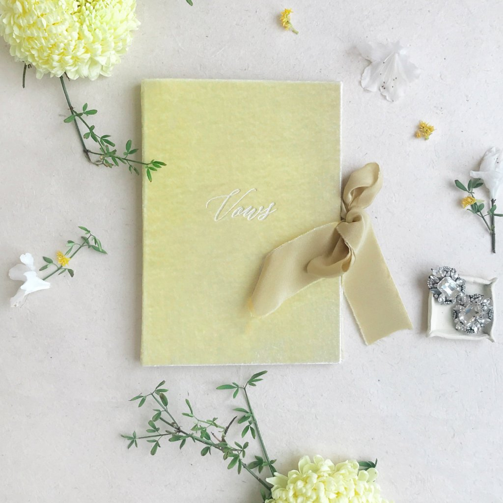 Wedding Stationery Yellow Wedding theme Velvet Vow Book