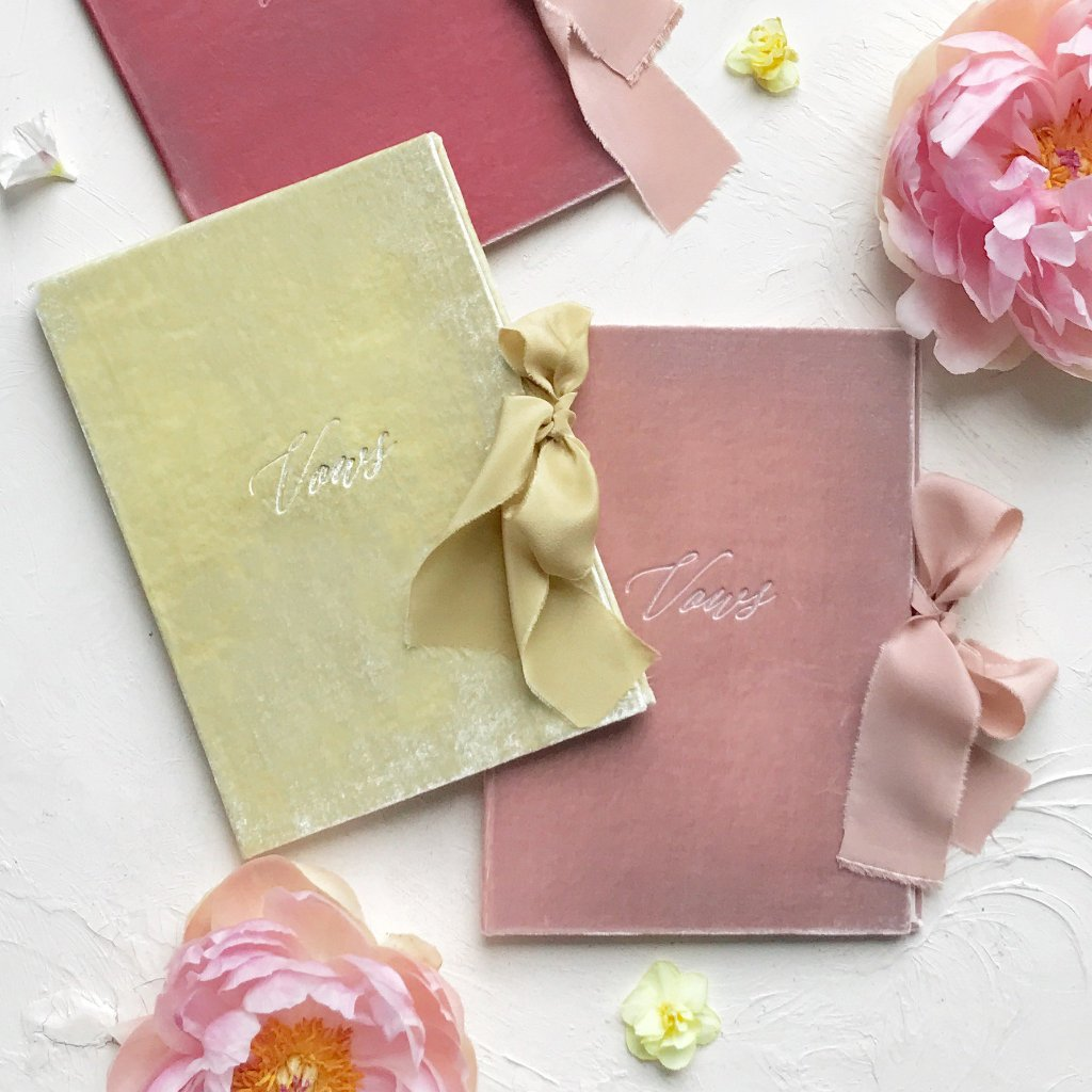 Vow Book Covers Uk Velvet - Blush Wedding Stationery