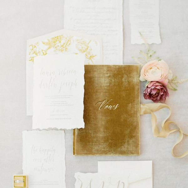 Vow Book Covers Uk Velvet - Gold Wedding Stationery Gold