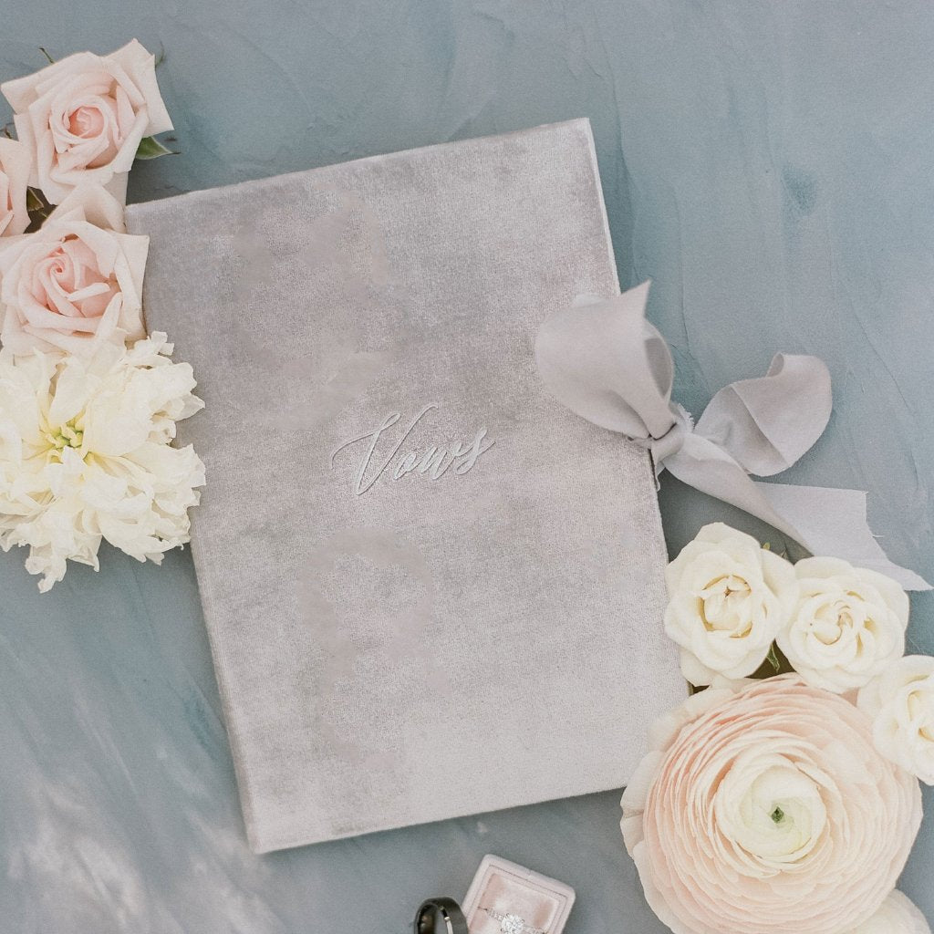 Vow Book Covers Uk Velvet - Grey Wedding Stationery Grey