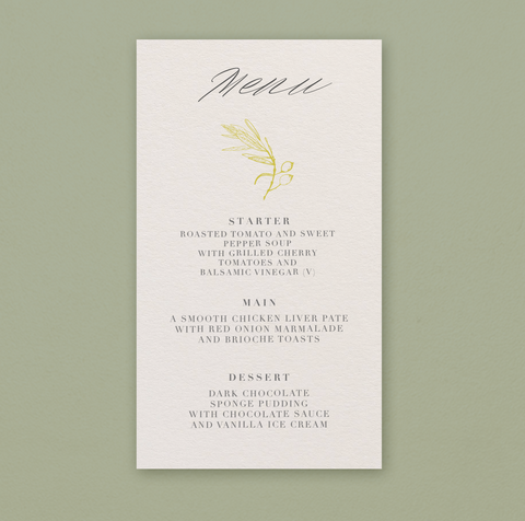 Olive Gold Menu cards