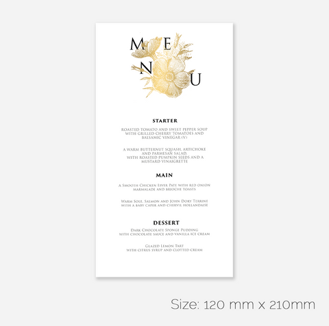 Blumengold Menu Card