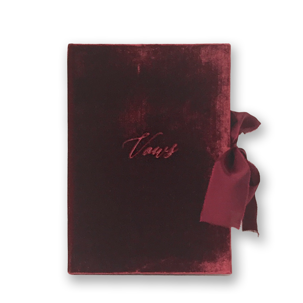 Vow Book Covers Uk Velvet - Dark Red Wedding Stationery , Dark Red Wedding Theme