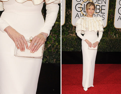 Jane Fonda at the 2016 Golden Globes. Photo Courtesy purseblog.com