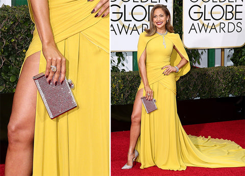 Jennifer Lopez at the Golden Globe Awards. Photo Courtesy purseblog.com