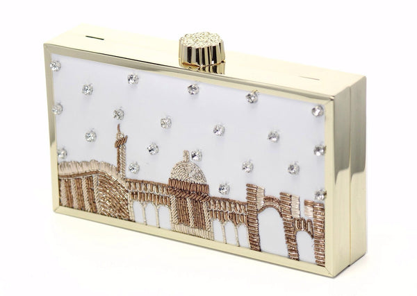 LANDMARK White - handmade artisan clutches by MINZA