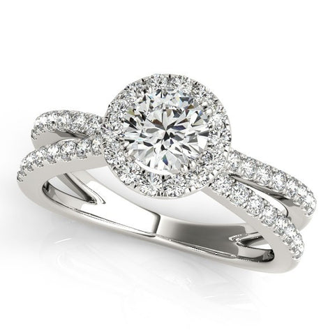 1.25ct Split Shank Halo 14k White Gold Diamond Engagement Ring