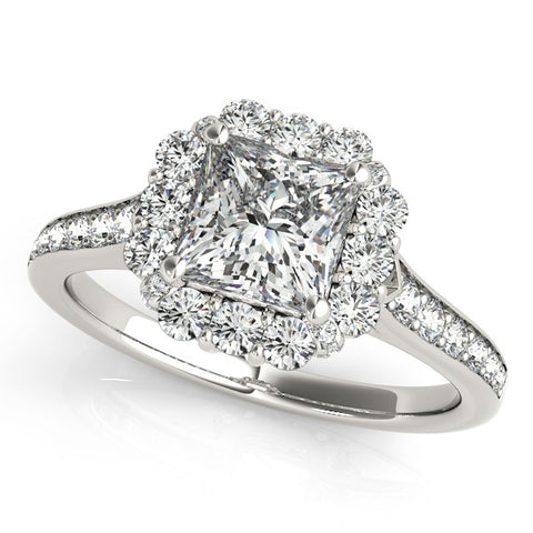 1.38ct Princess Cut Halo Style 14k White Gold Diamond Engagement Ring