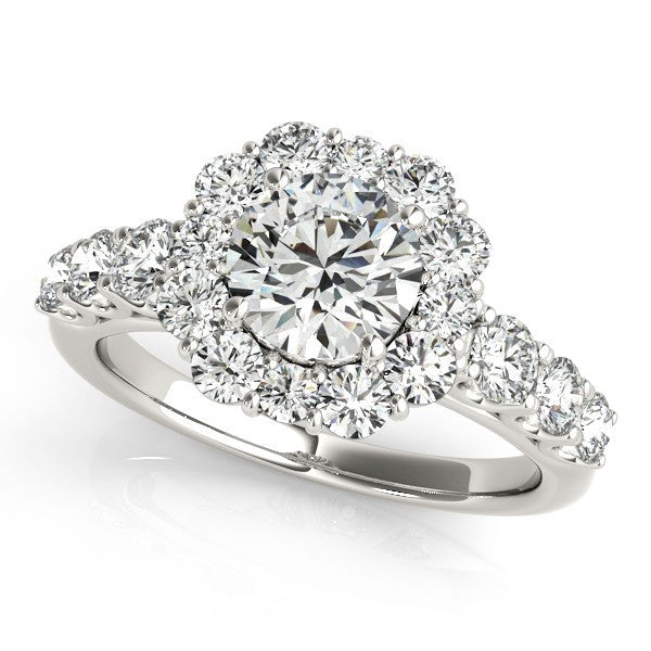 2.10ct Round Flower Design 14k White Gold Diamond Engagement Ring
