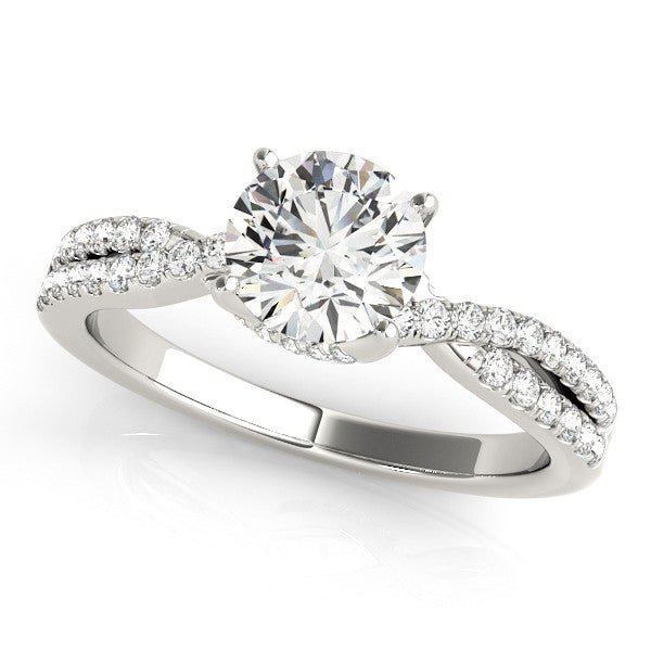 1.20ct Round Cut Twisted Style 14k White Gold Diamond Engagement Ring