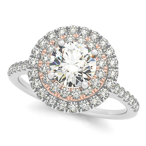 1.38ct Double Halo 14k White Gold Diamond Engagement Ring