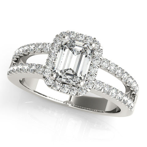 1.52ct Emerald Cut Split Shank Design 14k White Gold Diamond Engagement Ring