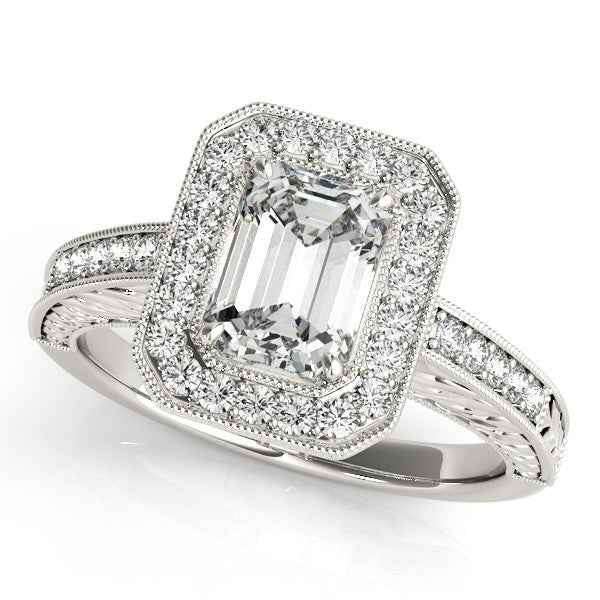 1.80ct Emerald Cut Antique Style 14k White Gold Diamond Engagement Ring