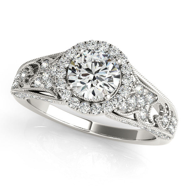 1.18ct Round Cut Antique Milgrain Style 14k White Gold Diamond Engagement Ring