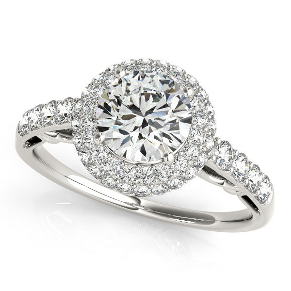 1.50ct Double Halo 14k White Gold Diamond Engagement Ring