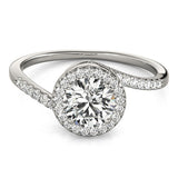 .70ct Round Bypass Style 14k White Gold Diamond Engagement Ring