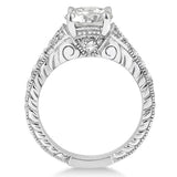 1.03ct Round Antique Style 14k White Gold Diamond Engagement Ring