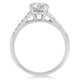 1.00ct Round Diamond Halo 14k White Gold Diamond Engagement Ring