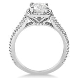 1.25ct Round Halo Split Shank Design 14k White Gold Diamond Engagement Ring
