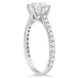1.33ct Round Stone Side Accented 14k White Gold Diamond Engagement Ring