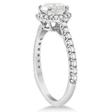 1.00ct Halo Side Accent 14k White Gold Diamond Engagement Ring