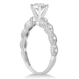 1.00ct Round Antique Design 14k White Gold Diamond Engagement Ring