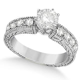 1.75ct Round Vintage Design 14k White Gold Diamond Engagement Ring