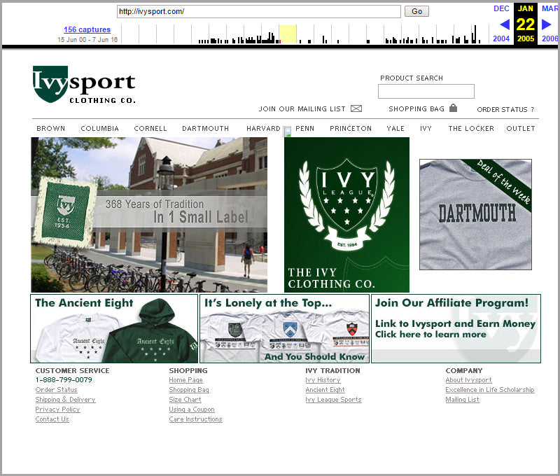 Ivysport homepage snapshot from 2005