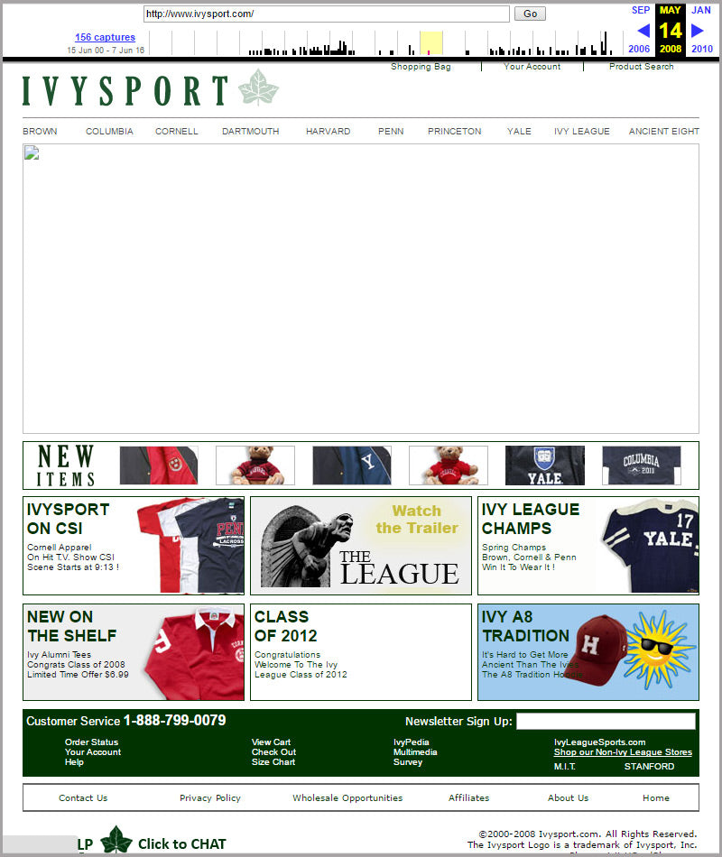 Ivysport homepage snapshot from 2008