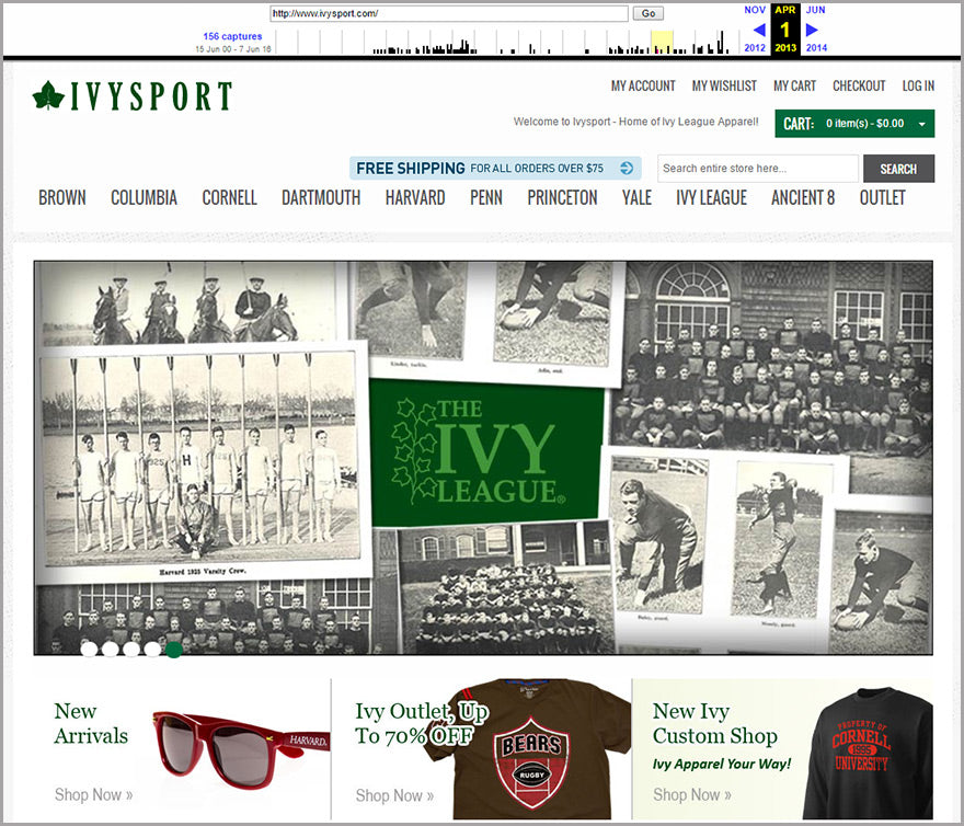 Ivysport homepage snapshot from 2013