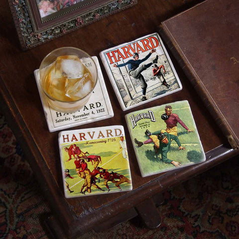 Harvard Vintage Football 4 Coaster Set
