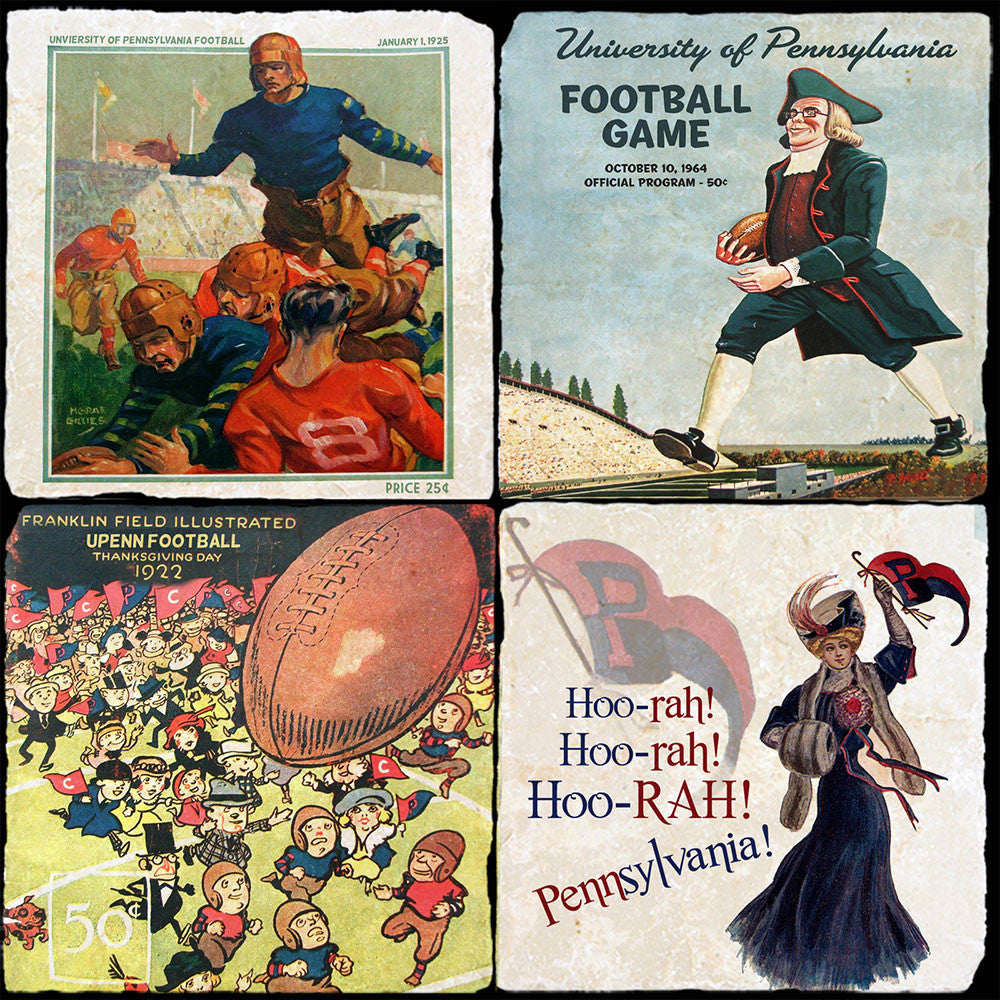 Penn Vintage Football 4 Coaster Set