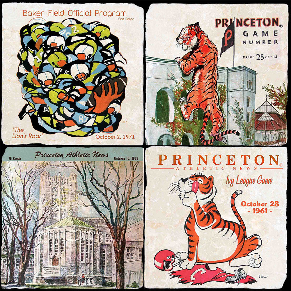 Princeton Vintage Football 4 Coaster Set