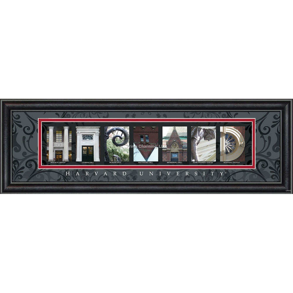 Harvard - Campus Letter Art (Black)