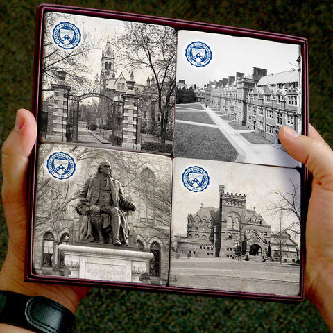 Penn Vintage Campus Photos 4 Coaster Set