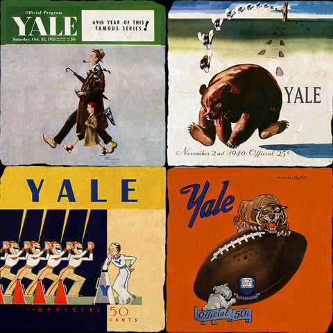 Yale Vintage Football Programs 4 Coaster Set