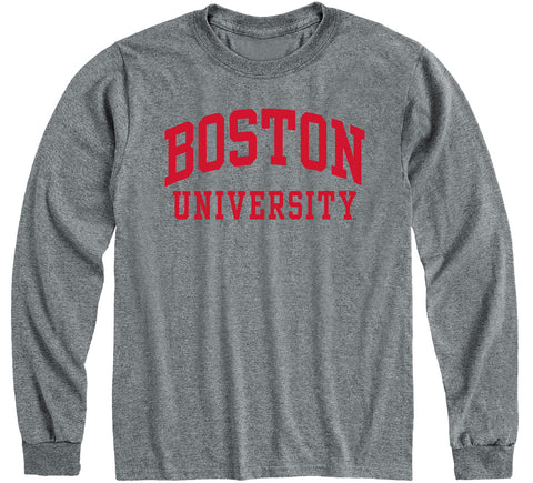 Boston University Classic Long Sleeve T-Shirt (Charcoal Grey)