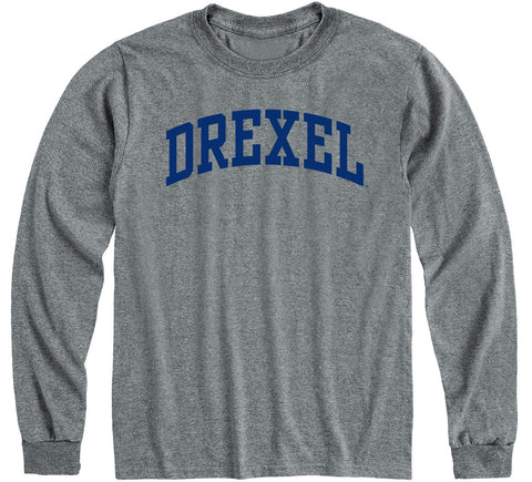 Drexel University Classic Long Sleeve T-Shirt (Charcoal Grey)