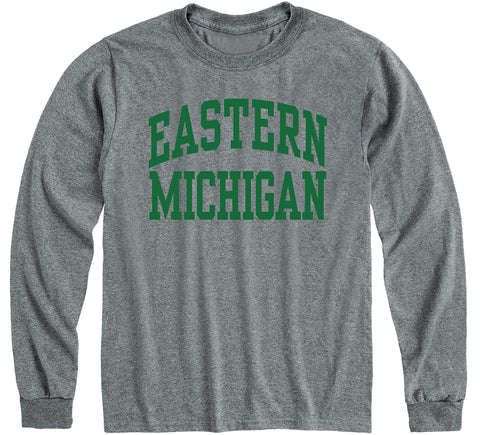 Eastern Michigan University Classic Long Sleeve T-Shirt (Charcoal Grey)