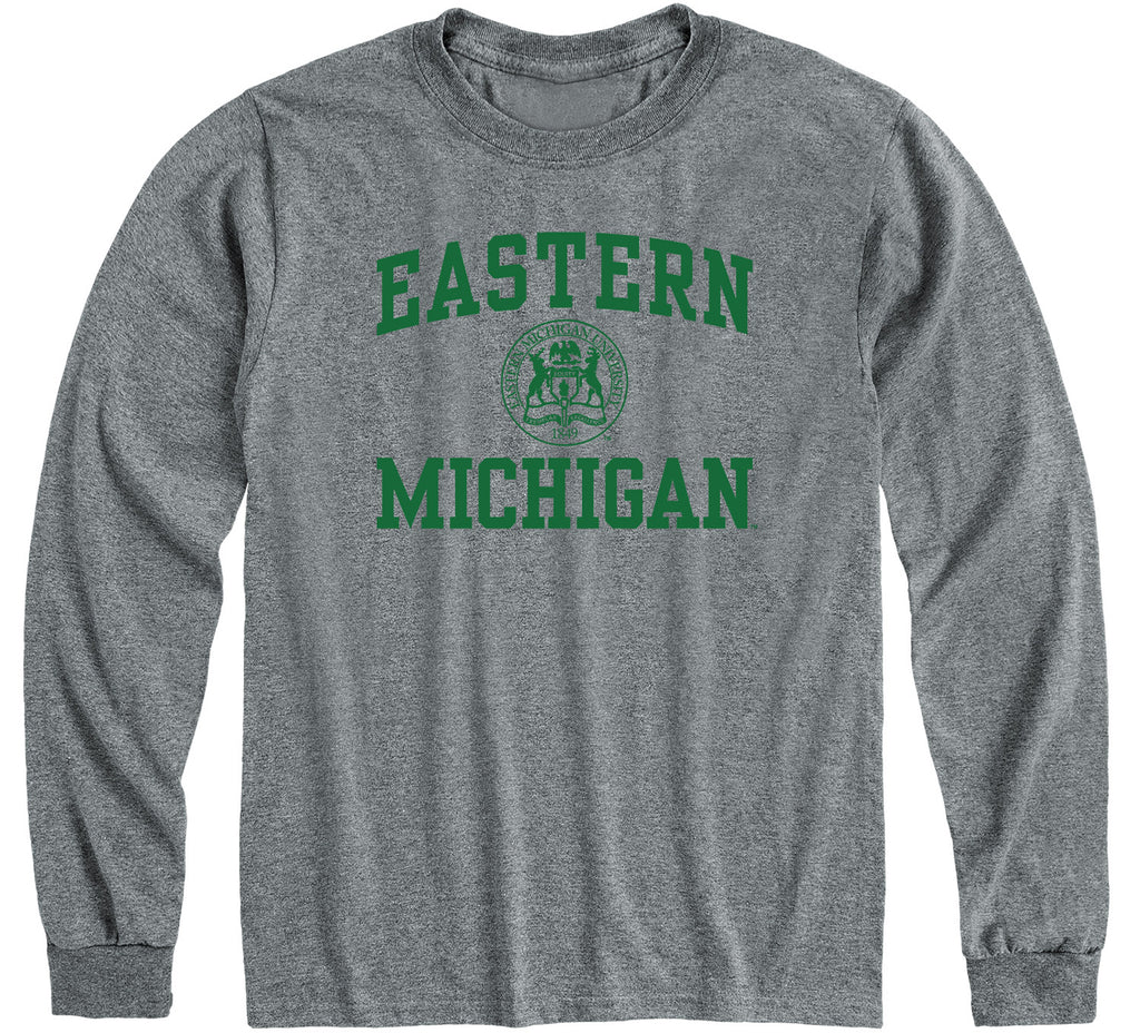 Eastern Michigan University Heritage Long Sleeve T-Shirt (Charcoal Grey)